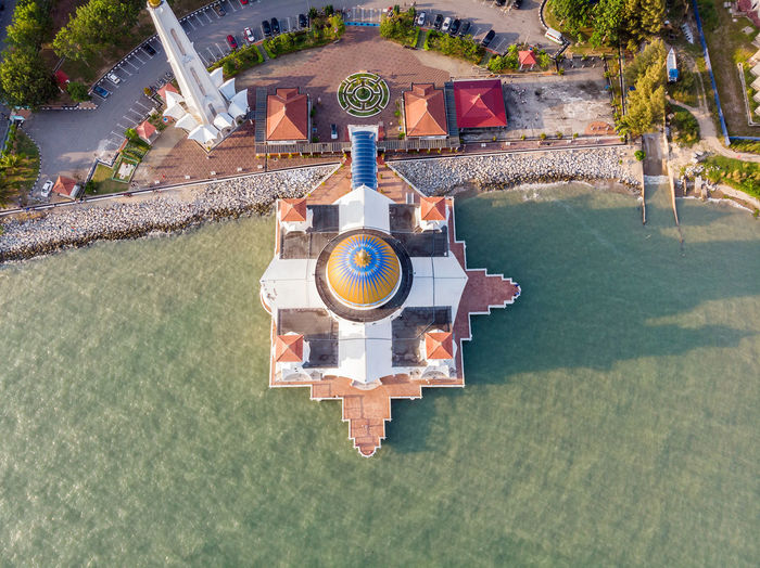 Malacca Straits Mosque, Malaysia Water Nature Architecture Day High Angle View Plant Built Structure No People Outdoors Building Exterior Tree Sunlight Melaka Malacca Malaysia ASIA Mosque Melaka Straits Mosque Travel Travel Destinations Drone  Droneshot
