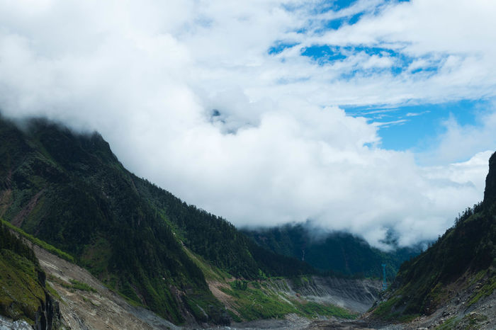 Hailuogou Valley Beauty In Nature Day Landscape Mountain Nature No People Outdoors Range Scenics Sky