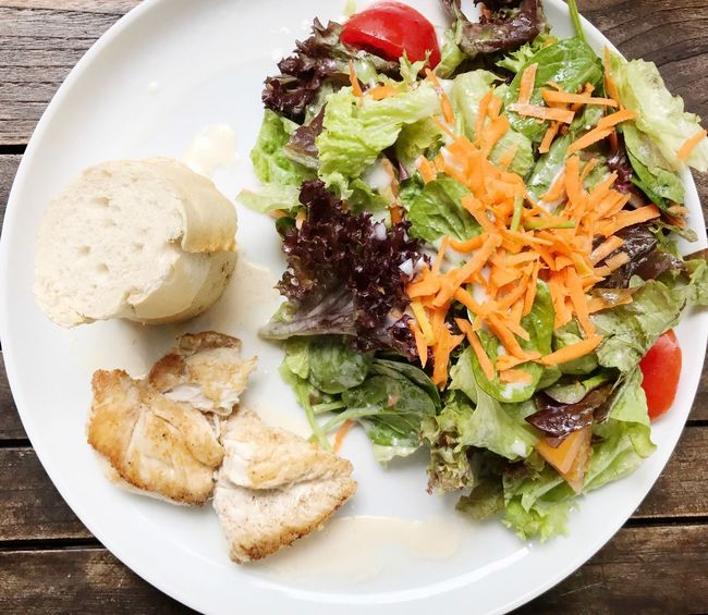 Salad Plate Food And Drink Food Healthy Eating Ready-to-eat High Angle View No People Chicken Salad