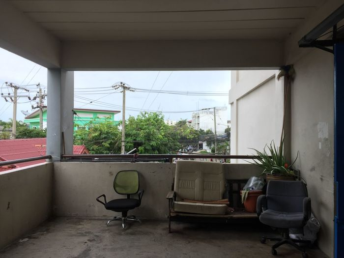 Potted plants by window against sky