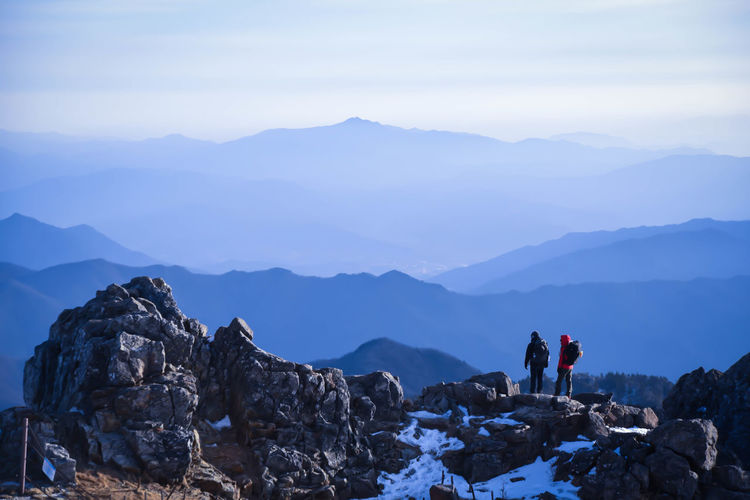 Mountain Mountain Range Landscape Nature Tourism Hiking Adventure Beauty In Nature Two People Healthy Lifestyle Sunlight Journey Snow Mountain_collection Mountain Climbing Eyeem Korea Nature EyeEm Korea Jiri Mountain In Korea Travel Destinations Nikon D750 EyeEm Best Edits Landscape_Collection Nature Outdoors The Great Outdoors - 2017 EyeEm Awards