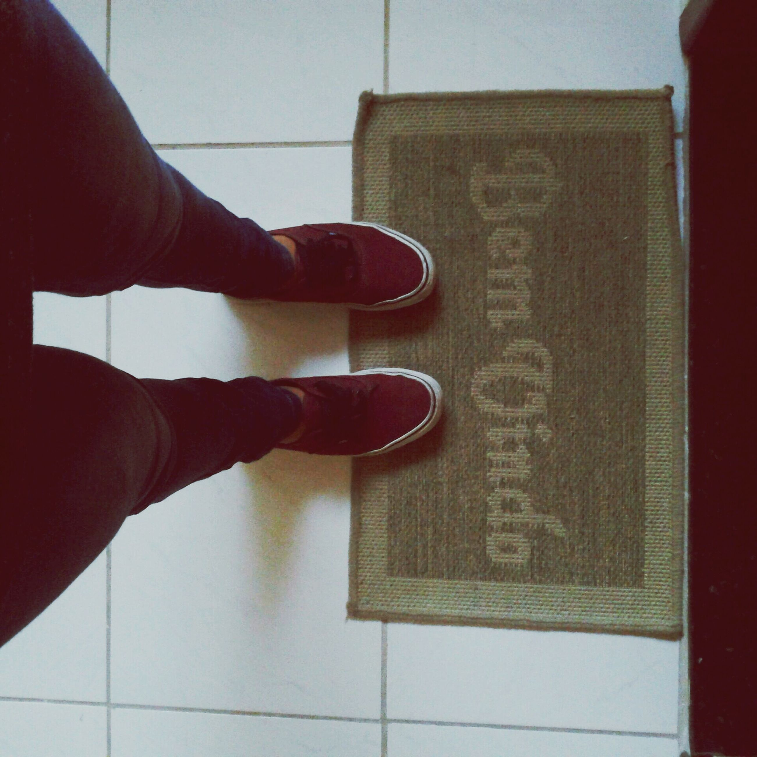 indoors, part of, person, cropped, personal perspective, low section, close-up, human finger, unrecognizable person, lifestyles, wall - building feature, red, men, shoe, holding