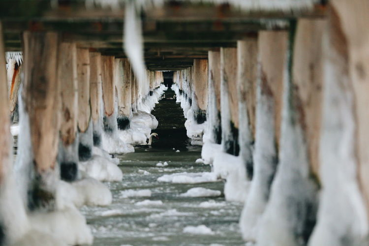 Last Winter Hurrah. Take a look the slightly frozen Baltic seashore under the boardwalk at the pier in Sopot, Poland Water Architectural Column Nature Outdoors Wintertime Winter Winter Photography Poland Trojmiasto Tricity Tricitypoland Pier Winter At The Sea Boardwalk Boardwalk Photography Baltic Sea Baltic Sea Winter Frozen Frozen Water Winter Photography.