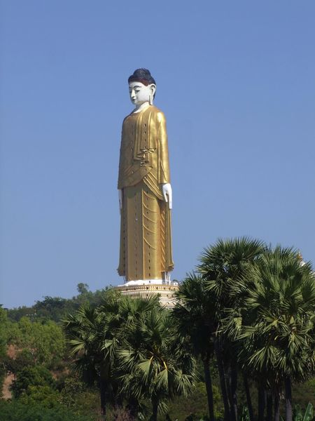 Bodi Tataung Giant Buddha Statue (424ft) Blue Sky Bodi Tataung Giant Buddhas Budda Statue Buddha Buddhism Buddhist Culture Clear Sky Composition Distant View Giant Buddha Gold Buddha Gold Colour Low Angle View Monywa Myanmar No People Outdoor Photography Place Of Pilgrimage Place Of Prayer Place Of Worship Religion Standing Sunlight Travel Destination Trees