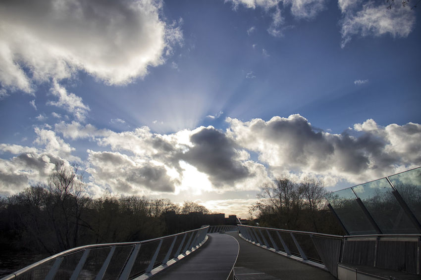 Cloud - Sky Sky Tree Nature Transportation No People Plant Architecture The Way Forward Built Structure Direction Railing Day Scenics - Nature Road Beauty In Nature Sunlight Connection Outdoors Bridge Crash Barrier University Living Bridge