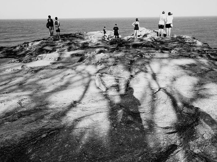 The Wait.. Anticipation Anticipation At Its Best Horizon Over Water Shadow Outdoors Sunlight Togetherness Standing Hopes And Dreams Travel Destinations Beauty In Nature North Stradbroke Island Open Spaces Nature Scenics Open Spaces Rugged Beauty Rugged Coastline Headlands Australian Landscape Point Lookout Rugged Landscape Rugged Terrain Black And White Photography Black And White Nature Monochromatic Color Perspectives On Nature Black And White Friday Be. Ready. Step It Up An Eye For Travel Go Higher Inner Power