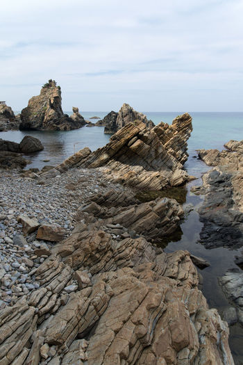 "famous seaside called ""Badabuchaegil"" at Jeongjdongjin in Gangreung, Gaongwondo, South Korea Badabuchaegil Gangreung Jeongdongjin Nature Cloud - Sky Horizon Over Sea Horizon Over Water Outdoor Rocks Seaside Water"