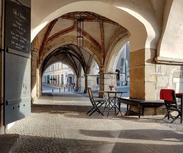Untermarkt Görlitz Architectural Column Arch Architecture Built Structure Outdoor Cafe Building Colonnade Historic Residential Structure Passageway History