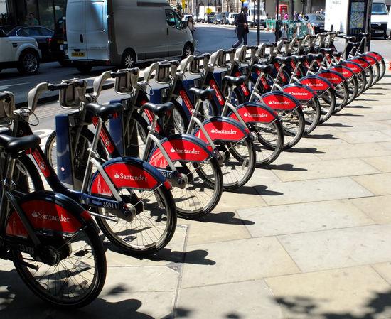 Boris Bikes, London Boris Bikes City City Life City Street Cycle Diminishing Perspective Getting Around In A Row London Mode Of Transport Transportation
