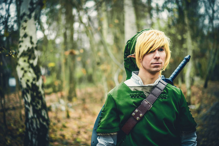 Link Cosplay Cosplay Cosplay Convention Cosplay Shoot Day Elf Costume Fantasy Forest Green Color Hood - Clothing Into The Woods Legend Of Zelda Link Costume Link Zelda Mysterious Forest One Person One Woman Only Only Women Outdoors People Portrait Rural Scene Tree Young Adult Link Cosplay