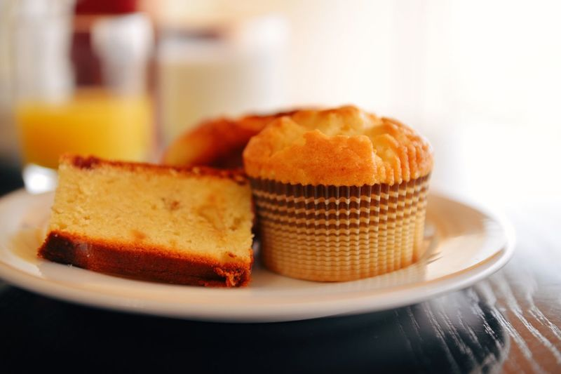 Close-Up Of Fresh Cakes In Plate On Table