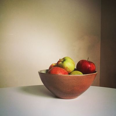 Food And Drink Fruit Healthy Eating Table Freshness Food Still Life Close-up Bowl Ready-to-eat Fruit Bowl Vibrant Color Organic Indoors  Natural Lighting Autumn🍁🍁🍁 Apples Ceramic Bowl