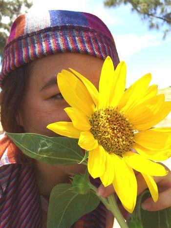 My girl Flower Head Flower Young Women Beautiful Woman Beauty Women Females Beautiful People Yellow Sunflower