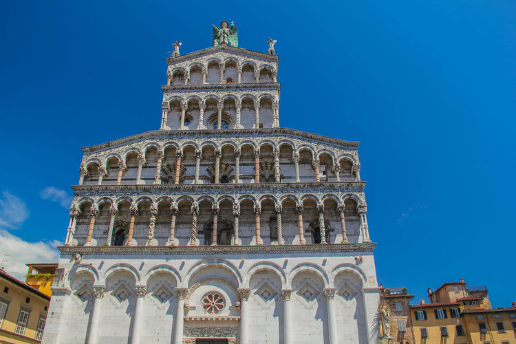 San Michele in Foro Basilica Church Façade Lucca Lucca Italy San Michele In Foro Toscana Architectural Column Architecture Building Exterior Clear Sky Day Low Angle View No People Outside Religion Sculpture Tourism Travel Destinations