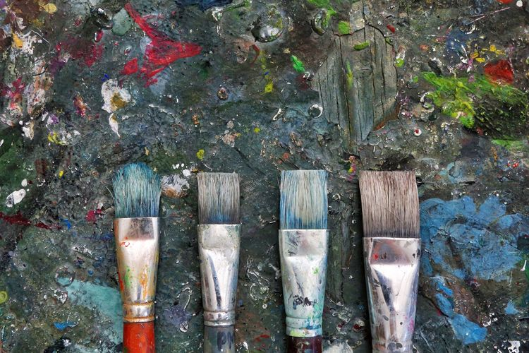 Artist Paint Work Workshop Art Backgrounds Brushes Close-up Color Colorful Day Detail Dirty No People Oil Paint Outdoors Paint Painter Painting School Stationery Tools Wallpaper Wooden Work Tool