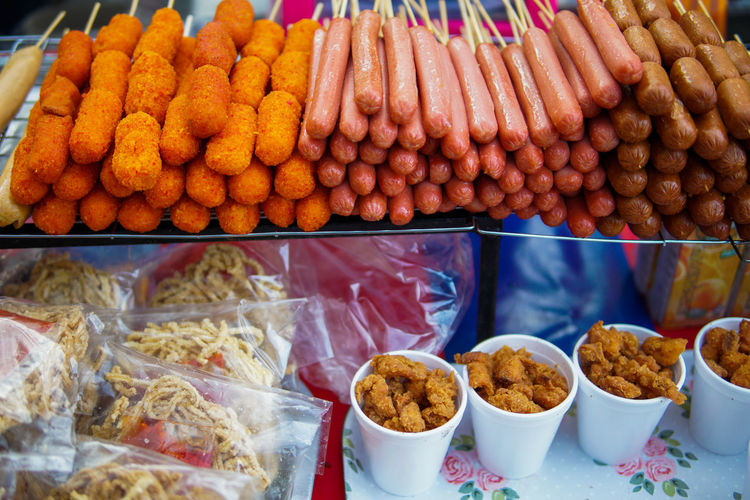 Variety of food for sale at market stall