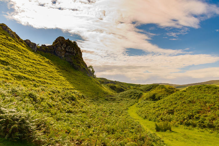 Fairy Glen Scotland Scottish Uig Beauty In Nature Cloud - Sky Day Grass Green Color Highlands Landscape Mountain Mountain Range Nature No People Outdoors Scenics Sky Slope Tranquil Scene Tranquility