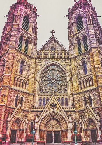 Cathedral Basilica of the Sacred Heart. Newark, NJ. Architecture Religion Building Exterior Arch Façade Church Place Of Worship Built Structure Low Angle View Spirituality Clear Sky Entrance History Architectural Feature Gothic Style Spire  Rose Window Day Outdoors Exterior Exterior Newark EyeEm Catholic Basilica