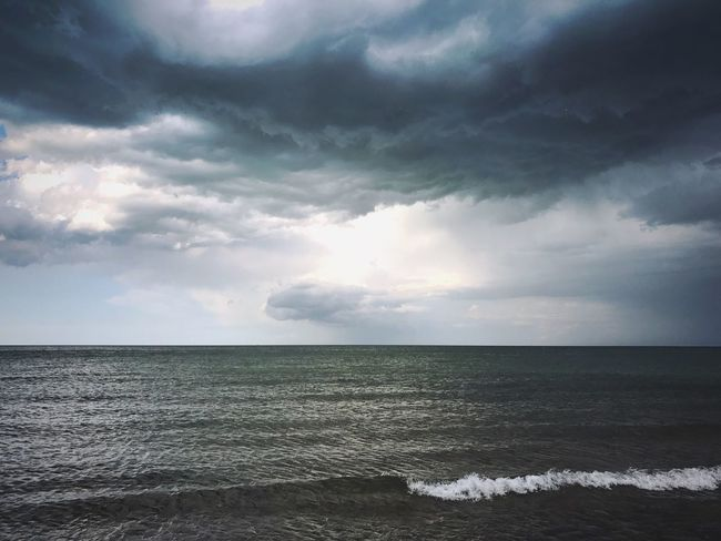 Sea Horizon Over Water Water Beauty In Nature Cloud - Sky Sky Nature Scenics Tranquil Scene Tranquility No People Beach Outdoors Day Wave Storm Cloud