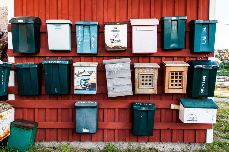 Mailboxes on brown wall