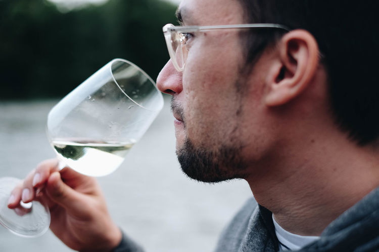 """""""Happy Nicolas"""" EyeEmOnABoat Alcohol Close-up Drink Drinking Focus On Foreground Food And Drink Glass Glass - Material Headshot Holding Leisure Activity Lifestyles Men One Person Profile View Real People Red Wine Refreshment Side View Wine Wineglass Winetasting"""