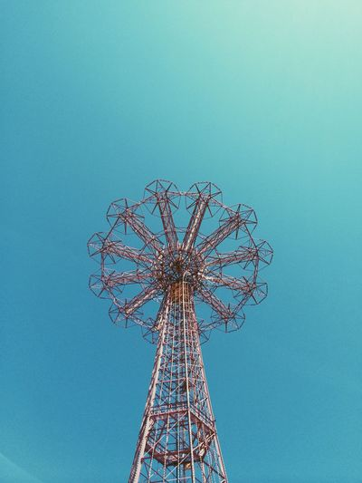New York City New York NYC Brooklyn Coney Island Sky Blue Lookingup Abstract Minimal Minimalism Amusementpark Ride Red Lines Vintage