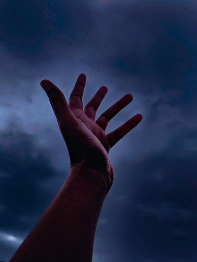 hand Human Hand Palm Silhouette Spooky Hand Human Finger Close-up Sky Storm Cloud Dramatic Sky Sky Only Moody Sky Overcast
