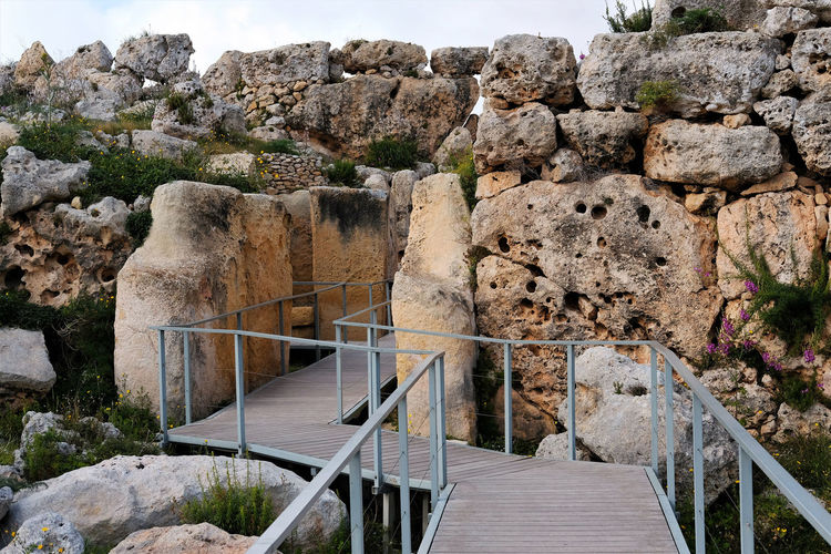Main gate to neolithic xaghra temples in gozo, malta