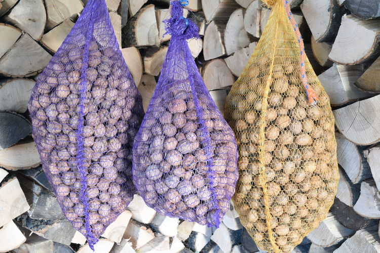 Bags with fresh walnuts drying Autumn Vegetarian Food Dry Food Food And Drink Fruit Harvest Harvesting Healthy Eating Ingredient Nut Organic Sack Season  Walnut