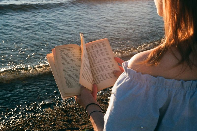 Rear View Of Woman Reading Book At Beach
