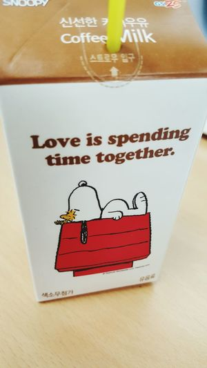 Love Is Spending Time Together. Snoopy Coffee Milk GS25