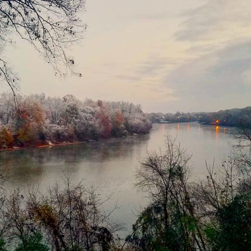 Snow on the Coosa River early Saturday morning in Wetumpka. Snow ❄ River View River Outdoors Beauty In Nature Scenics Water Reflection Lake Nature Sky Flying Bird Cloud - Sky No People Multi Colored Day Tree