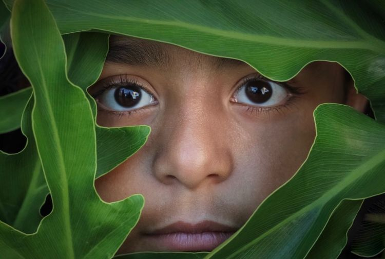 Close-Up Portrait Of Girl Amidst Leaves