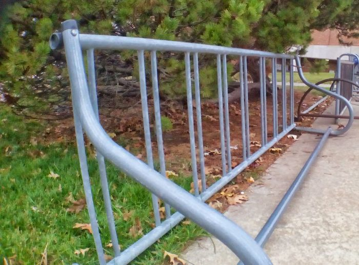 Outdoors Bikerack Leaves Bared Patterns