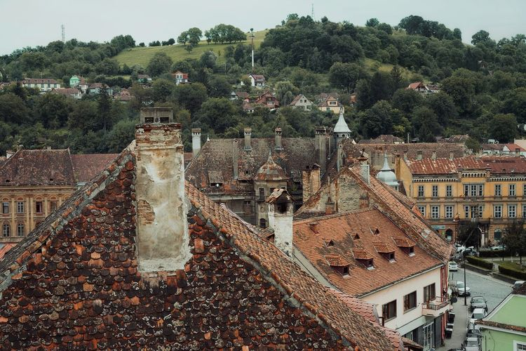 High angle view of old town against buildings