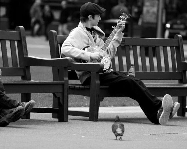 Sitting One Man Only Full Length One Person Relaxation Only Men Adult Adults Only Outdoors People Men One Young Man Only Day Young Adult Music Banjo Banjo Player Glasgow  Scotland Musician Music Brings Us Together