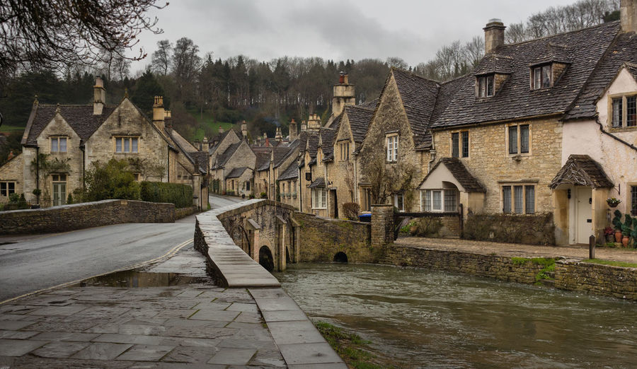 Building Exterior River Water Architecture Outdoors No People Castle Combe Village