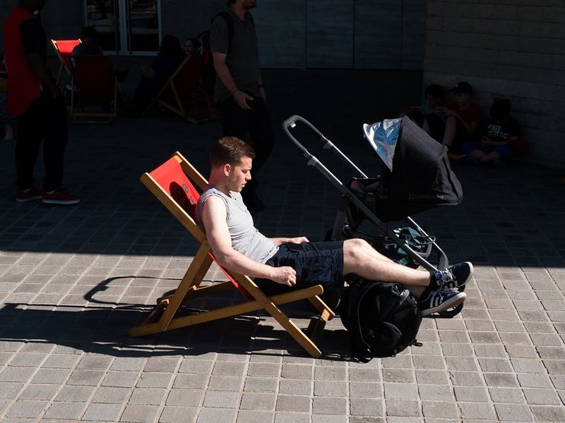 Looking after the pram in comfort - Southbank, London, Aug 2016 Streetphotographers Street Photography Street Color Capture The Moment Candid People London Southbank EyeEm Best Shots - The Streets