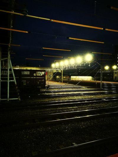 🐸👋 Night Illuminated Railroad Station Platform Train Station Rail Transportation Railroad Station Transportation Public Transportation Railroad Track Railway Station