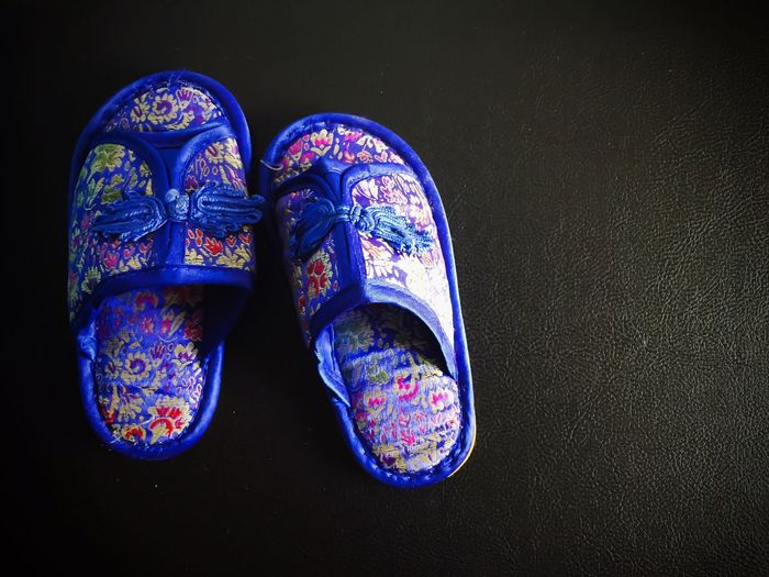 Chinese Style Slipper  Slippers Sandal Pair Blue Fashion Chinese New Year Chinese New Year 2017 CNY2017 Chinese Design No People Close-up Sandals Footwear Blue Blue Slipper Blue Sandals IPhone Photography Iphone 6 The Week On EyeEm Still Life Capture Tomorrow