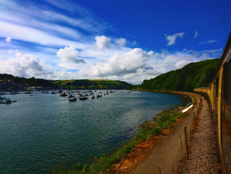 Trains Steam Trains Water Cloud - Sky Outdoors Blue Nature Beauty In Nature England, UK Kingswear English South Devon Hillside Valleys Boats⛵️ Boat Sky Nature Amazing View Tree Day Lake Devon Sunny Nautical Vessel