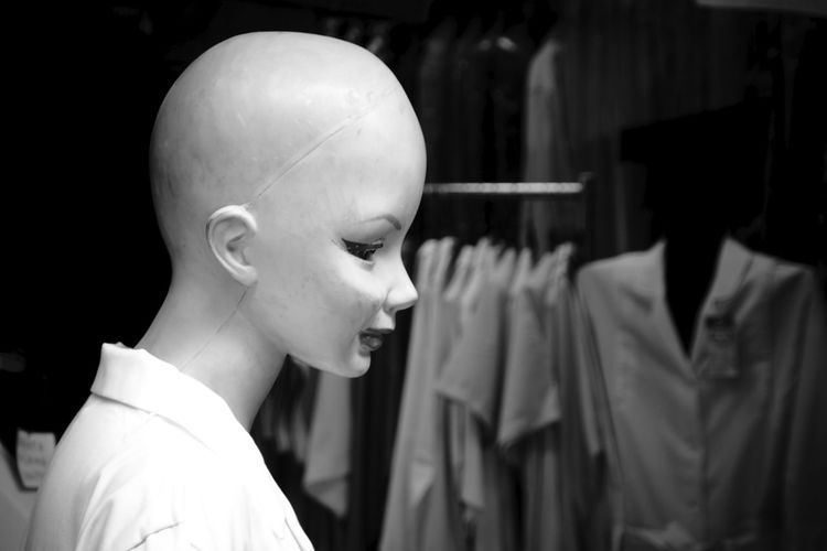 Close-up of mannequin at store