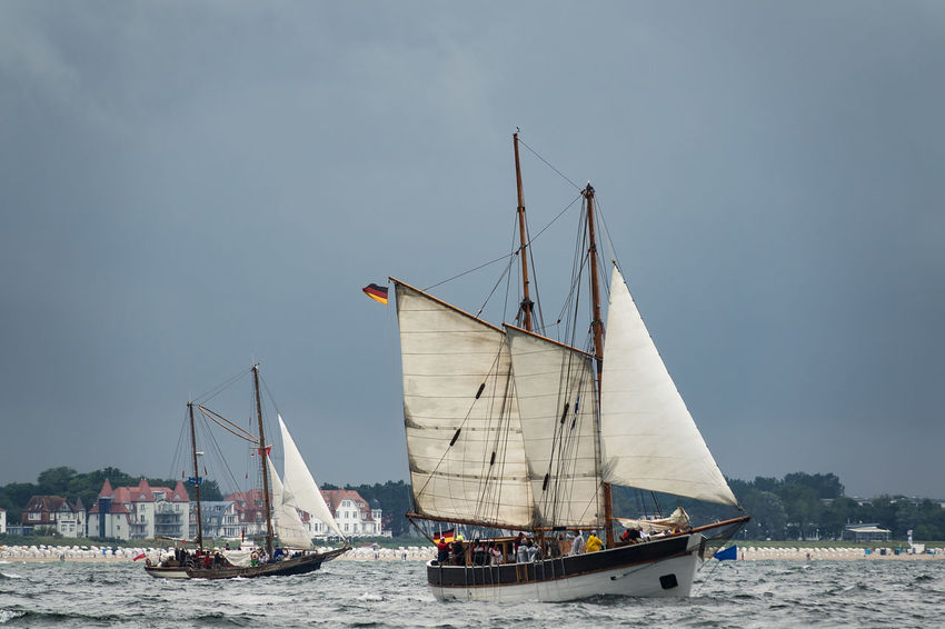 Sailing ships on the Hanse Sail in Rostock, Germany. Baltic Sea Hanse Sail HanseSail Relaxing Rostock Sailing Ship Travel Warnemünde Day Journey Mast Nature Nautical Vessel No People Outdoors Sailboat Sailing Sea Sky Tall Ship Tourism Vacation Warnemuende Water Windjammer