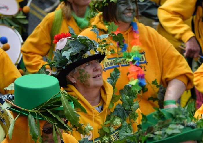 Jack In The Green Festival Jack In The Green May Day 2017 East Sussex Hastings Celebration Outdoors Day Togetherness People Multi Colored Happiness Teamwork Only Women Friendship Carnival Performance Parade Pagan Festival Pagan Arts Culture And Entertainment Large Group Of People Rural Scene Face Paint Traditional Festival