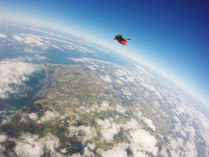 Aerial view of people skydiving