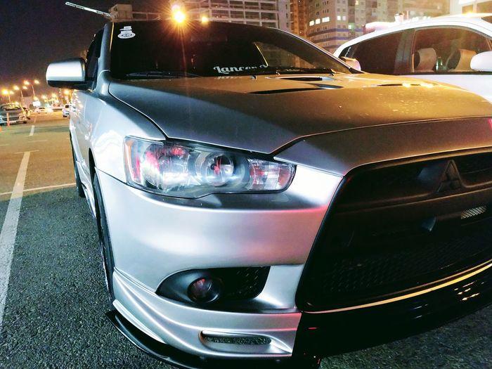 Evo X Evo Mitsubishi Mitsubishi EVO X City Car Land Vehicle Illuminated Stationary Close-up