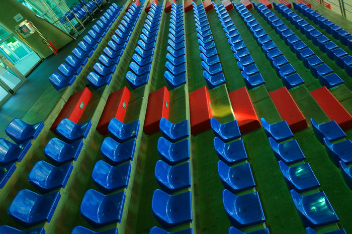 Let's end blue monday with a touch of red :)) Blue Monday Blue Wave BYOPaper! Close-up Day Empty Eyeem Market From My Point Of View Getting Inspired In A Row Indoors  Is This Seat Taken? Large Group Of Objects Live For The Story No People The Architect - 2017 EyeEm Awards The Photojournalist - 2017 EyeEm Awards Visual Feast