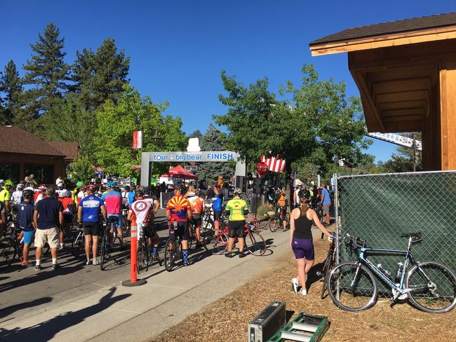 August 4, 2016 / Tour de Big Bear Architecture Big Bear Building Exterior Built Structure California City Life Clear Sky Crowd Day Full Length Outdoors Person Sky Transportation Tree