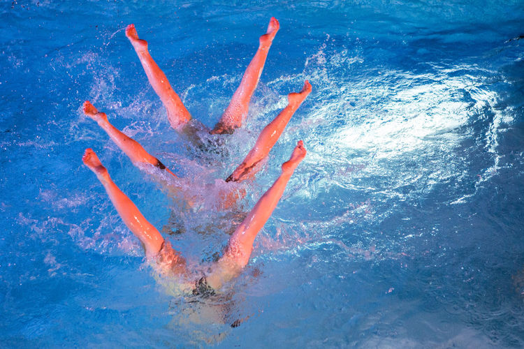High angle view of swimmers upside down in swimming pool