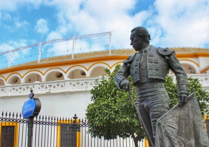 Plaza De Toros Statue Sculpture Male Likeness Human Representation Low Angle View Day Cloud - Sky